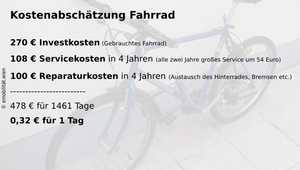 Kostenaufteilung für das Fahrrad